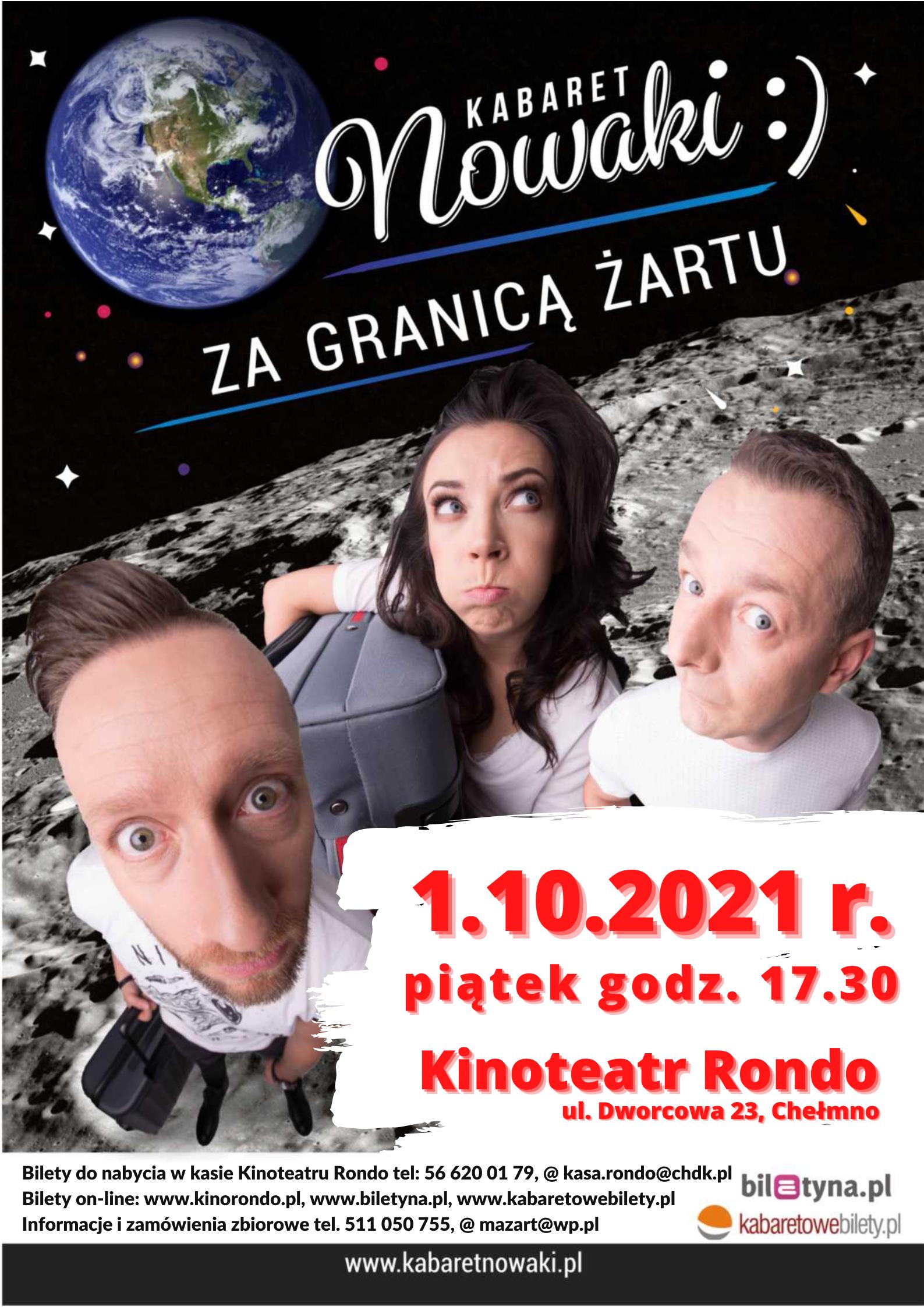 Plakat Kabaretu Nowaki infromujący o dacie występu oraz możliwych formach nabycia biletów.